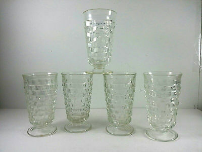 Indiana Whitehall Glasses Footed Cubist Clear Water Tea Set Of 5 Vintage