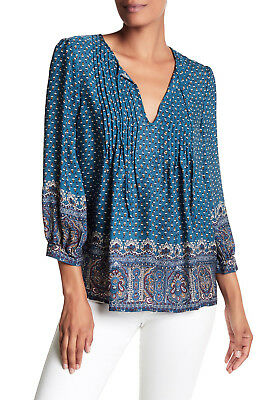 496f77c49c5ee5 JOIE Rinjani 100% Silk Pleated Print Blouse color DEEP MARINE Size M NEW
