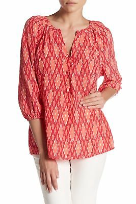 ed556f3df34da4 JOIE Addie 100% Silk Pleated Print Blouse color Spiced Coral Size S NEW