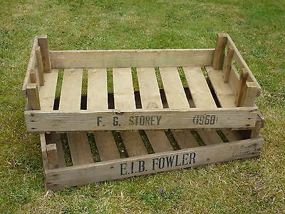 2X Vintage  Rustic Wooden Farm Tray Apple Crate Potato Chitting Bushel Box,!
