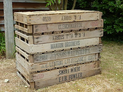 4 Vintage Antique Rustic Wood Farm Tray Apple Crate Potato Chitting Bushel Box.'