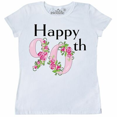 Inktastic Happy 90th Birthday With Roses Womens T Shirt Birthdays Adult Rose 90