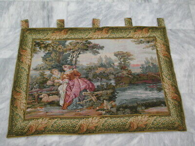 4914 - Old French / Belgium Tapestry Wall Hanging - 88 x 130 cm
