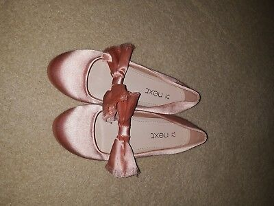 Next Girls Bridesmaids Pink Satin Shoes Size 12 Worn Once! Sold out in Next