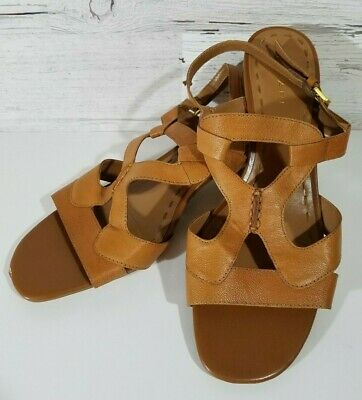 abcb32dfde Tahari Strappy Sandal Heels Women's Size 9.5 Brown w/Block Heels and Buckles