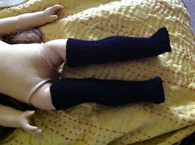 Black Rib Knit Doll Stockings Thigh High on American or Knee Socks on My Twinn