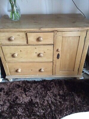 Old Antique Stripped Pine Sideboard/cupboard/cabinet.