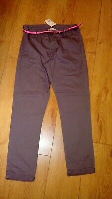New H&M Girls Grey Cotton Trousers With Bright Pink Belt Age 14 Years