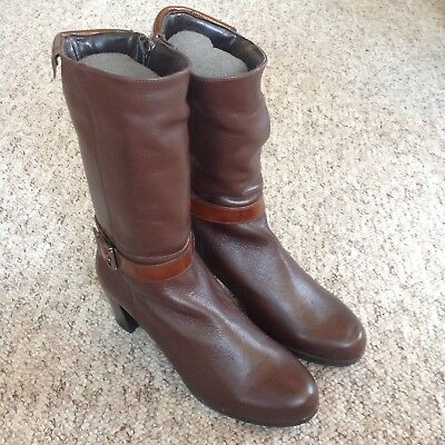 Riva Brown Genuine Leather Mid Calf Boots UK4