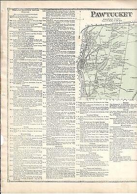1870 Pawtucket, Ri. Map That Has Been Removed From The Beer's 1870 Atlas