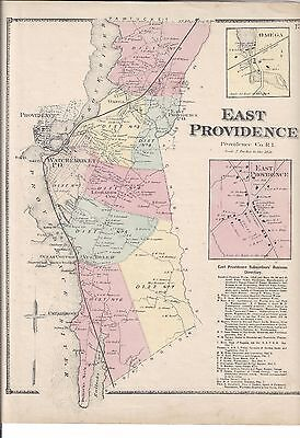 1870 East Providence, Ri. Map That Has Been Removed From The Beer's 1870 Atlas