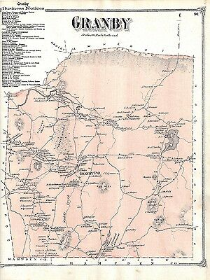 1873 Granby, Ma. Map That Has Been Removed From The Beer's 1873 Atlas