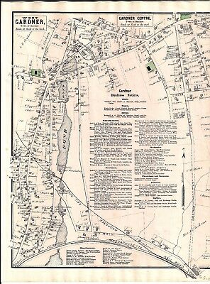 1870 Town Of Gardner Center, Ma. Map That Was Removed From The Beer's 1870 Atlas