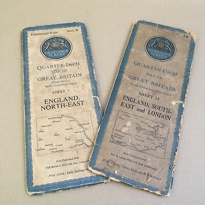 2 X Ordnance Survey Maps - South East & London (12) & North-East (3) - 1945/1946
