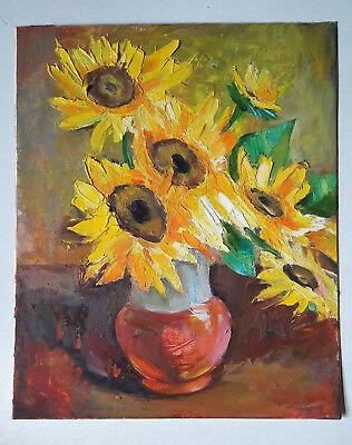 Original Oil Painting on a Blackboard: Sunflowers Bouquet  Worldwide Delivery