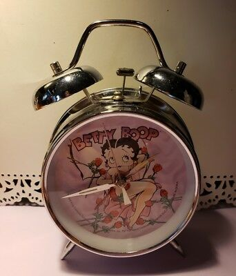 "BETTY BOOP ""BED OF ROSES"" TWIN BELL ALARM CLOCK  1998 works very good"