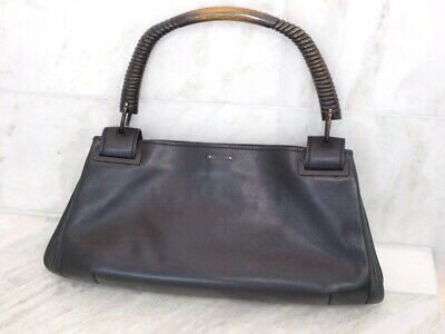 ae323d6ad1 Gucci classic heavy black leather hand bag with exotic hardwood handle  quality!