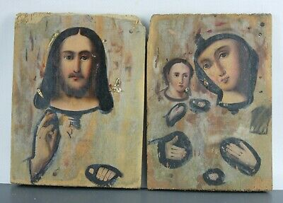 antique Icon Jesus Christ with sphere Mother of God Russian Empire Oil Wood