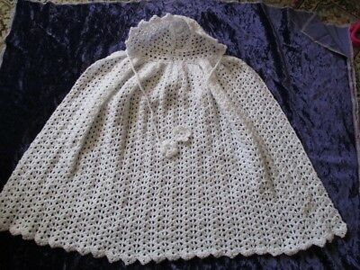Victorian Style Baby Christening Cape 3-6 mths White