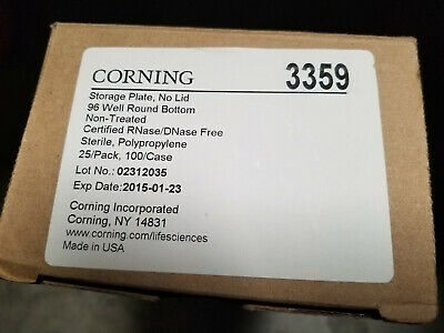 Corning 96 Well Clear Round Bottom Pp Microplates, Box Of 25, Sterile, #3359