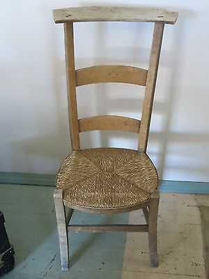 Antique Kneeling Cane Seated Itinerant Priest Prayer Chair Collected In Taos, NM