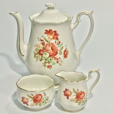 Hall Coffee Pot with Creamer and Sugar Bowl Superior Kitchenware  Floral Roses