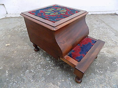 antique,victorian,mahogany,extending,library steps,stool,turned legs,steps,seat