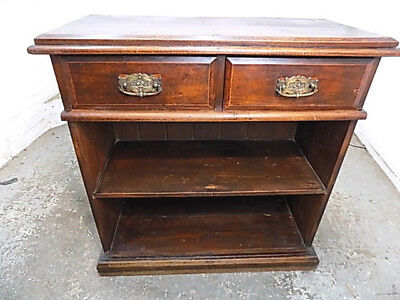 antique,victorian,mahogany,tall,open front,bookcase,cabinet,two,drawers,shelves,