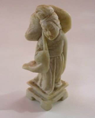 Vintage Chinese carved soap stone figure Rare Asian Statue Figure Stone Base