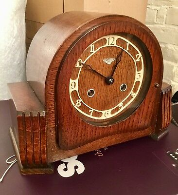Vintage Wood Oak Bentima Mantle Clock with Key