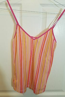 XHILARATION Womens Medium Pink Striped Yellow Juniors Tank Top
