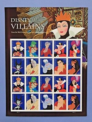 USPS Walt DISNEY VILLIANS FOREVER Sheet First Class MNH 20 STAMPS 2017 FREE SHIP
