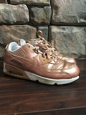 buy popular cda0d 17784 Girls Nike Air Max '90 Metallic Red Bronze Rose Gold PS 859562-900 sz