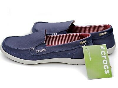 1dd89f5d790 NEW Crocs Walu Canvas Loafer Nautical Navy   Stucco Slip On Shoes Womens  Size 7