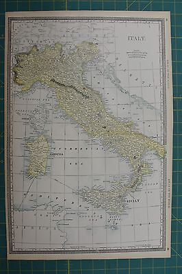 Italy Vintage Original Antique 1892 Rand McNally World Atlas Map