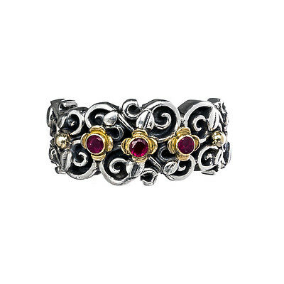 Gerochristo 2799N ~ Solid Gold, Silver & Rubies Medieval Floral Band Ring