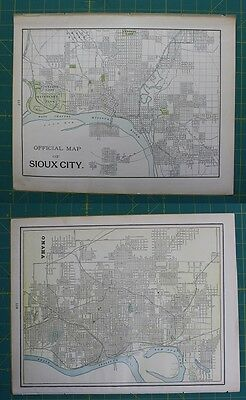 Sioux City, IA Omaha, NE Vintage Original 1897 Cram's World Atlas Map Lot