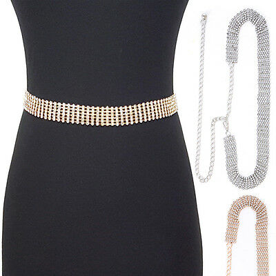 Bling Rhinestone Full Metal Chain Belt Wide Waist Hip Prom Wedding Dress Long