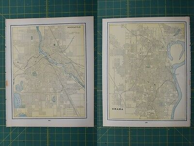 Minneapolis Omaha Vintage Original 1895 Werner Company World Atlas Map Lot