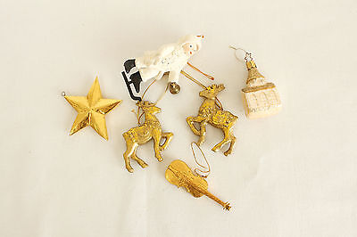 Vintage Gold & White Christmas Ornament Holiday Tree Decoration