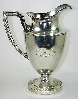 Antique Masonic Matrons of Kansas City 1923 Vintage Sheffield Silver Co Pitcher