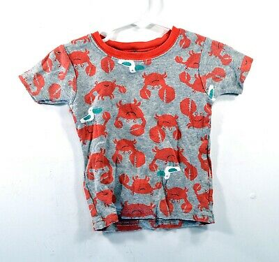 Carters 2T Crab Tshirt - Toddler Boys Size 2T Gray with Red Crabs Beach Shirt