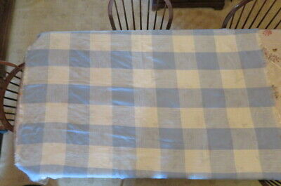 """Vintage Tablecloth Table Cloth Country Blue & White Plaid 56"""" x 70"""" Woven Fabric"""