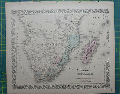 Southern Africa Vintage Original Antique 1870 Colton World Atlas Map