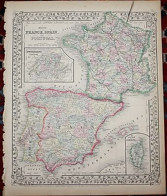 France, Spain and Portugal Rare Original Antique 1870 Mitchell's Atlas Map