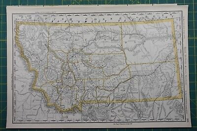 Montana Rand McNally Antique Vintage 1892 World Business Atlas Map