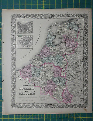 Holland Belgium Vintage Original Antique 1870 Colton World Atlas Map