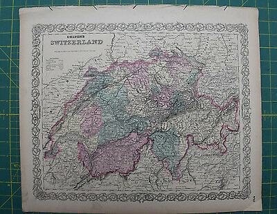 Switzerland Vintage Original Antique 1870 Colton World Atlas Map