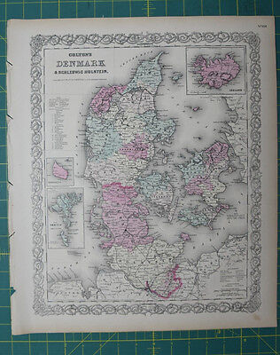 Denmark Vintage Original Antique 1870 Colton World Atlas Map
