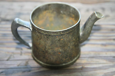 "Old Antique Grand Silver Co Nickel Silver Tea Pot Creamer 3"" Tall No Lid"